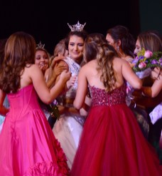 Lindiana Frangu is congratulated by the other contestants as the new Miss Connecticut's Outstanding Teen.