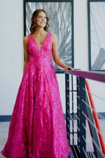 Allie Maisto wears a gown from Panapoly.