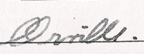 Orville signature with clear difference between the r and v