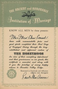 Honeymoon certificate from the Paradise Valley Lodge