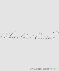 Signature of Nicholas Conrad from his Naturalization Petition 1858