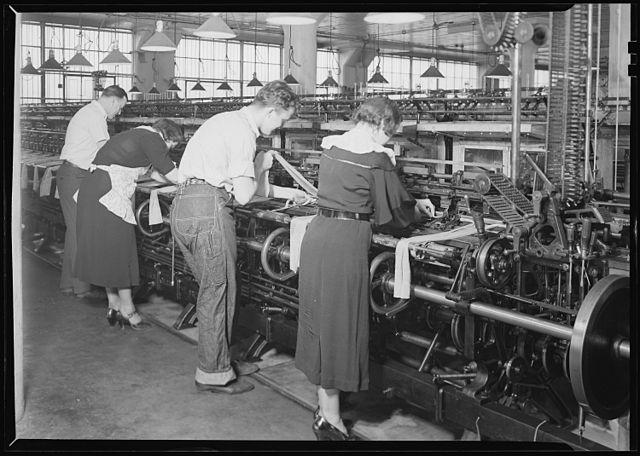 Hosiery Mill workers at their machines. Philadelphia, Pennsylvania.