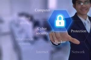 Man touches security icon on virtual screen
