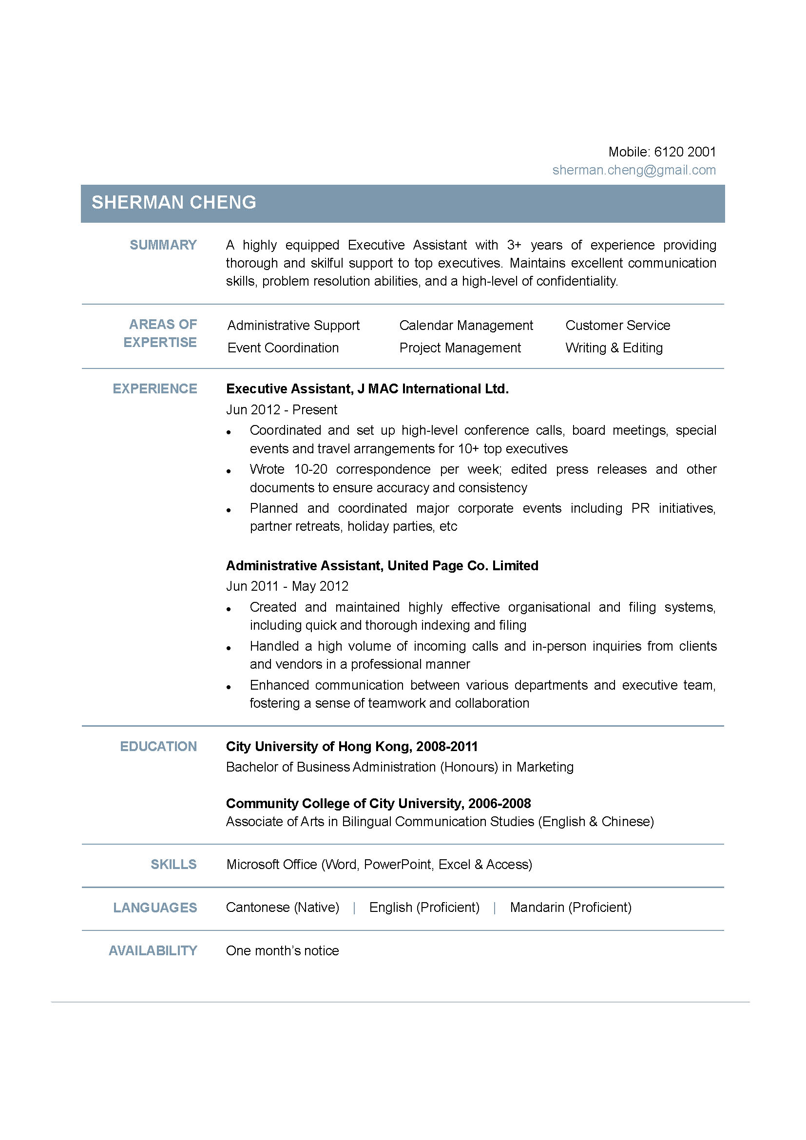 program support assistant resume examples executive assistant cv