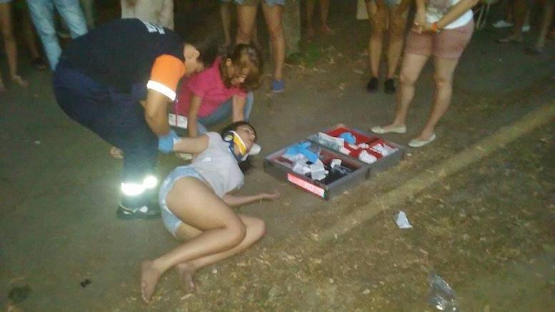 Femeia lovită de un BMW pe trotuar. FOTO ctnews.ro