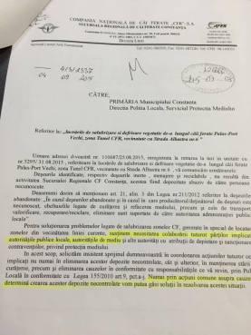 Adresa SNCFR transmisă Primăriei Constanța - pagina 1