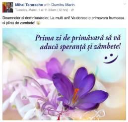 Mesajul lui Mihai Tararache de 1 Martie