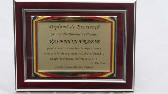Valentin Vrabie, premiat la Peștera