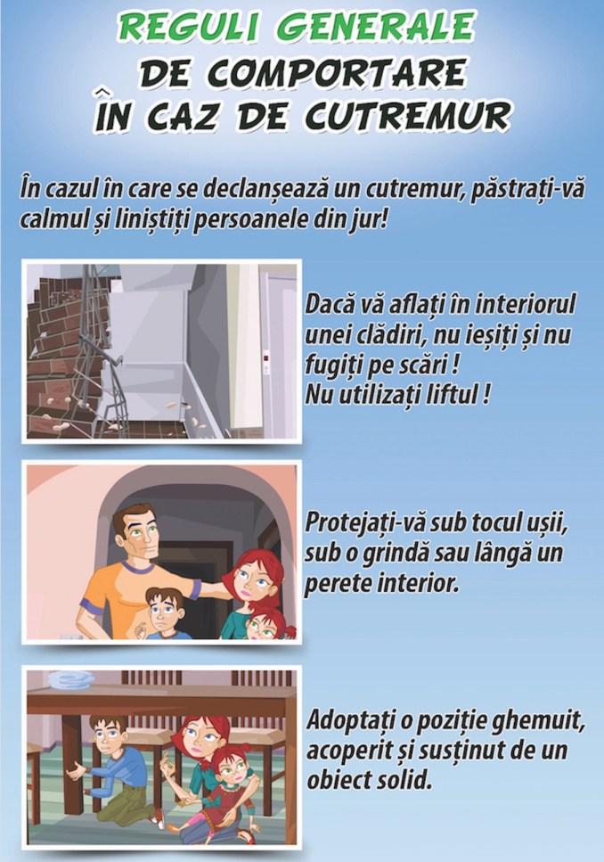 Recomandari în caz de cutremur. FOTO ISU Dobrogea
