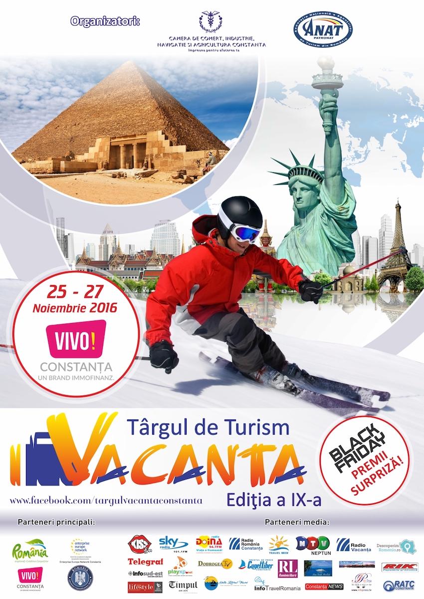 """Afiș Târgul de Turism """"Vacanța"""" din noiembrie 2016"""