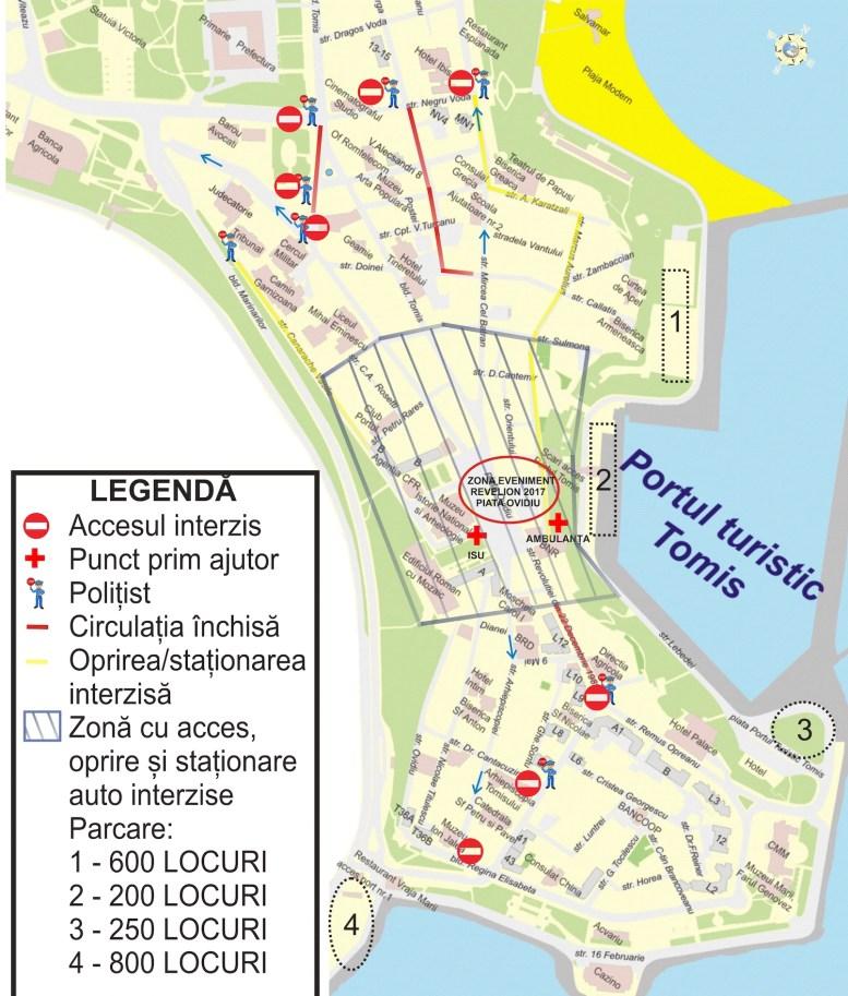 Harta parcare și restricții de circulație pentru Revelion 2017