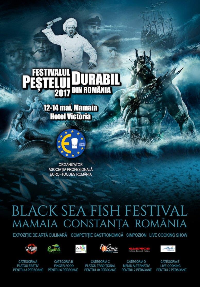 """Afiș """"Festivalul Peștelui Durabil"""" de la Mamaia"""