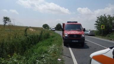 Accident rutier DN 22 Constanta - Tulcea, echipajul de Descarcerare. FOTO ISU Dobrogea