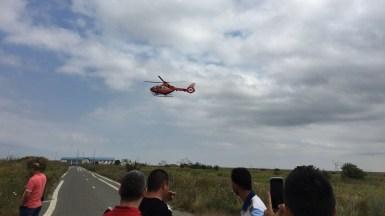 Elicopterul SMURD la locul accidentului. FOTO ISU Dobrogea