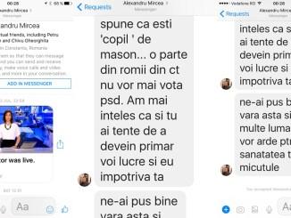 Mesaje de amenințare la adresa lui Horia Constantinescu. FOTO Arhiva personală Horia Constantinescu