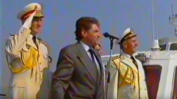 Petre Roman, la Ziua Marinei, în anii '90. FOTO Captură video