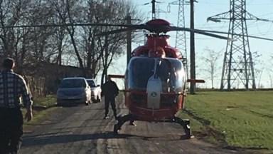 Una dintre victimele accidentului a fost preluată de elicopterul SMURD: FOTO ISU Dobrogea
