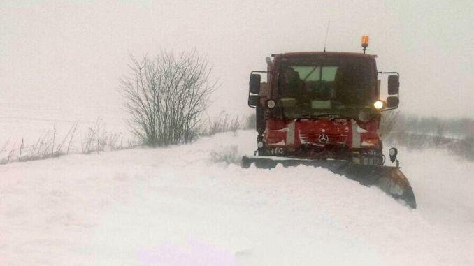 Zăpadă pe drumurile județului Constanța. FOTO Comandamentul de Iarnă
