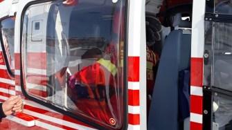 Pacienta a fost preluată cu elicopterul SMURD. FOTO ISU Dobrogea