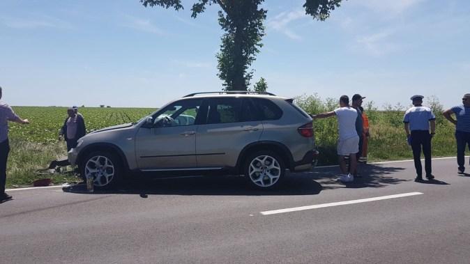 Mașina scăpată de sub control a intrat pe contrasens și a lovit o alta. FOTO IPJ Constanța