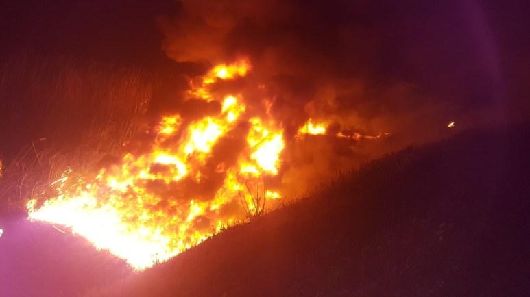 Reziduurile petroliere aruncate pe câmp, au luat foc. FOTO ISU Dobrogea