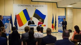 Viorica Dăncilă şi Jüri Ratas au dat scurte declarații. FOTO Cătălin SCHIPOR