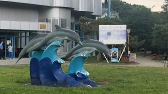 Statuia de la intrarea în CMSN Constanța, reprezentând trei delfini în valuri