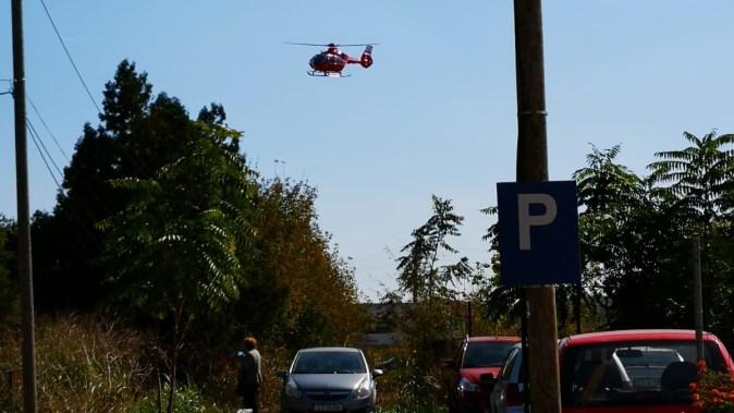 La locul producerii accidentului a intervenit și elicopterul SMURD. FOTO IPJ Constanța