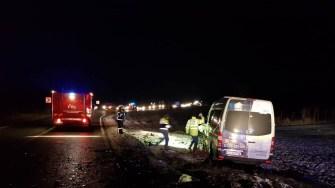 Microbuzul accidentat a ieșit în afara părții carosabile. ISU Dobrogea