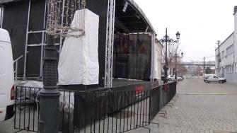Scena unde va avea loc spectacolul de Revelion din Cernavodă. FOTO CTnews.ro