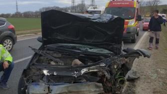 Mașinile implicate în accident au fost grav accidentate. FOTO IPJ Constanța