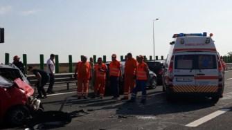 Mai multe echipaje de salvare au intervenit la accidentul de pe Autostrada A2. FOTO DRDP Constanța