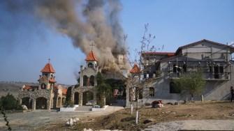 Biserica mănăstirii Sf. Filip din Urluia a fost distrusă de flăcări. FOTO ISU Dobrogea