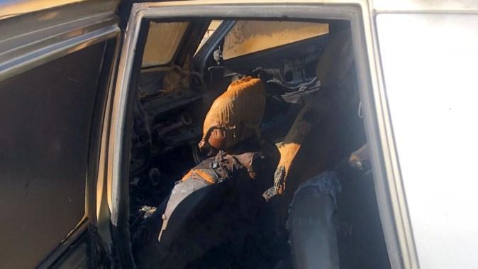 Mașina a fost distrusă pe interior. FOTO CTnews.ro