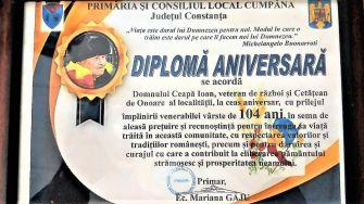 Cetățeanul de Onoare al comunei Cumpăna, Ioan Ceapă, a împlinit 104 ani. FOTO Primăria Cumpăna