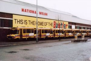 The mid 1980s saw deregulation and the introduction of BUSTLER minibuses, seen on the forecourt.
