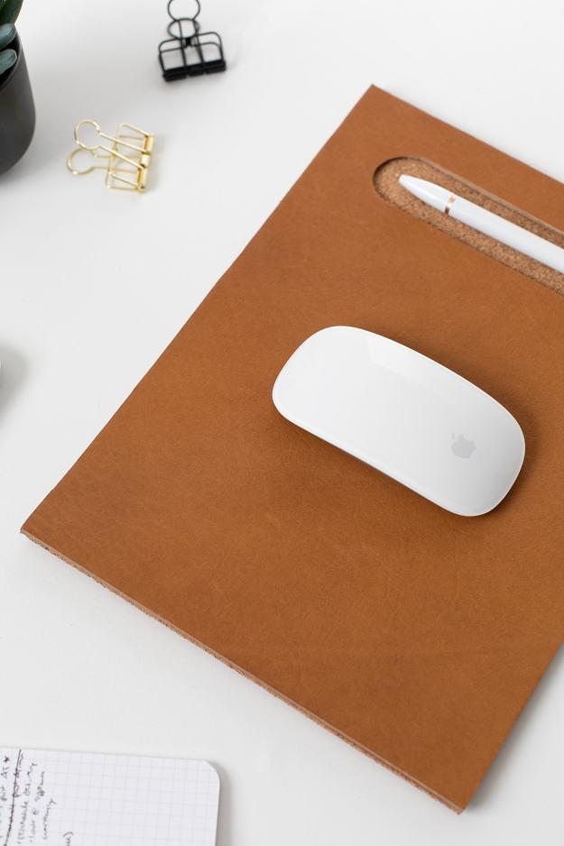 diy leather cork mousepad