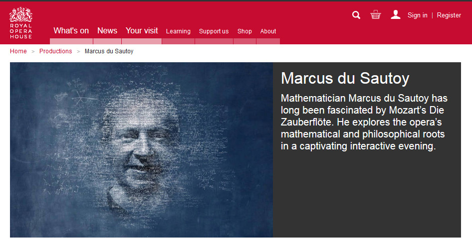 Portrait of mathematician Marcus du Sautoy, used by Royal Opera House