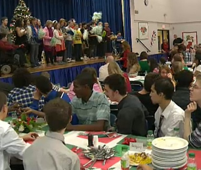 About  Students At L Y Cairns School Took Part In The Schools Annual Christmas Dinner On Thursday The Meal Also Included Entertainment By Students