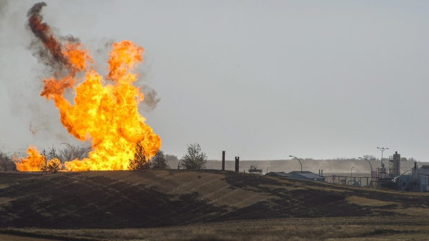 SaskEnergy Attempts To Control Natural Gas Fire At Pumping