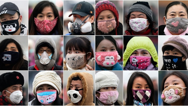 Beijing locals don colourful face masks as smog hovers over city ...
