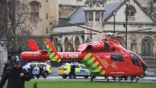 Air Ambulance outside U.K. Parliament