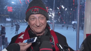 Ottawa Senators owner Eugene Melnyk addresses reporters ahead of the Alumni Classic on Parliament Hill, December 15, 2017.