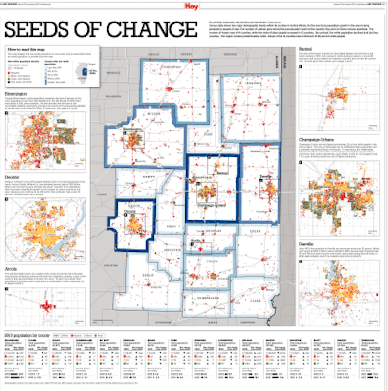 This dot-density map shows the demographic changes across a 16-county region in Central Illinois. It was designed by Jeff Kelly Lowenstein, Alex Bordens and Kyle Bentle from the Chicago Tribune and Hoy Chicago. It netted a Society of News Design award this year.