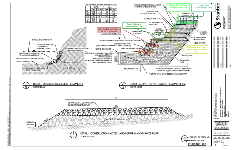 A diagram show the cross section of rock Dynegy wants to install on the Middle Fork River