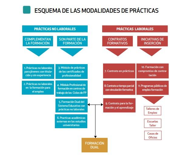 Cuadro de becas y prácticas en el sistema español.