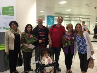 Rene and Gerardo arriving at Gatwick airport with their families on Friday morning