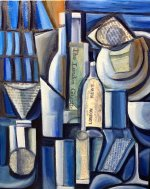 """Glassware And Bottles"" 16"" x 20"" oil and collage on canvas"