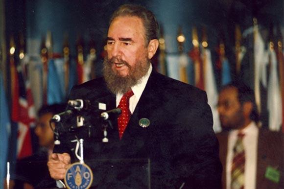 Fidel en la Cumbre Mundial de la FAO, 1996.