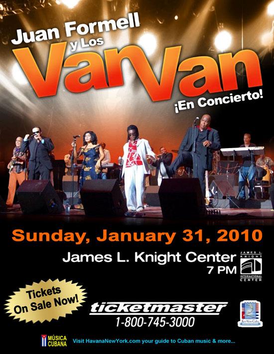 Los Van Van en Miami, presentación el 31 de enero